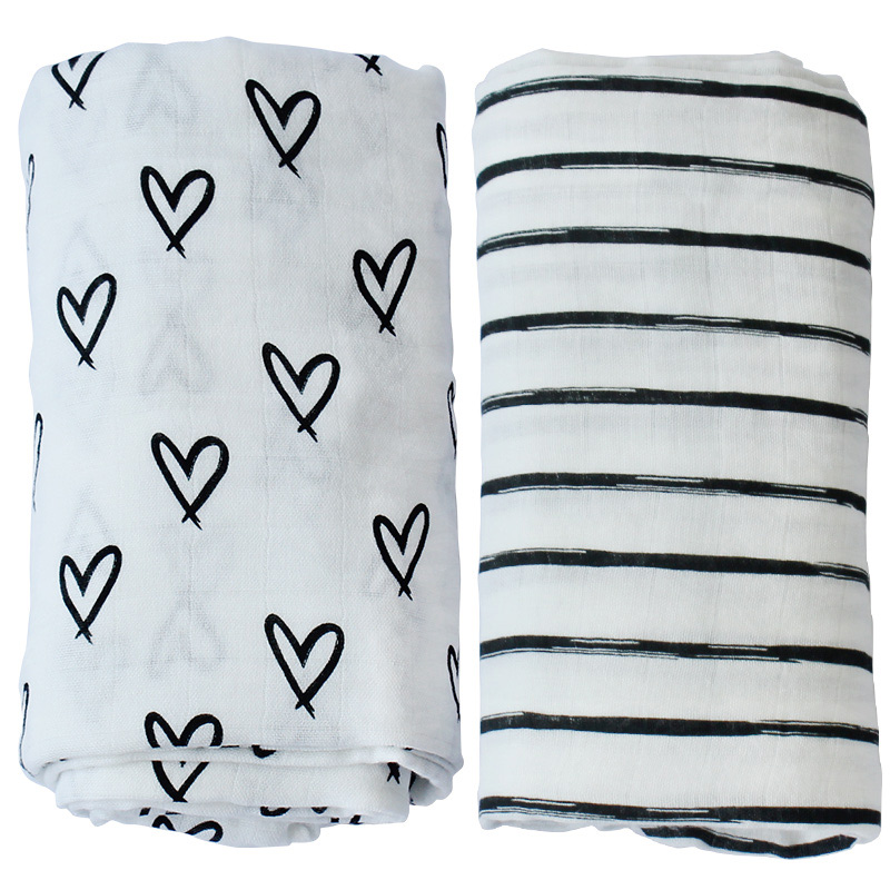Custom Design Organic Cotton Muslin Swaddle Blanket Baby