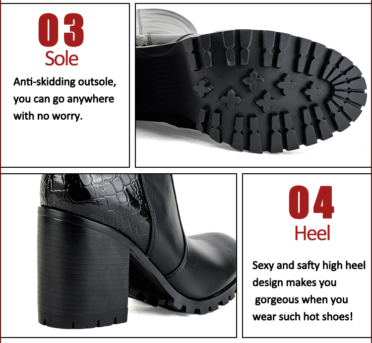 wholesale chunky heel real leather women boots