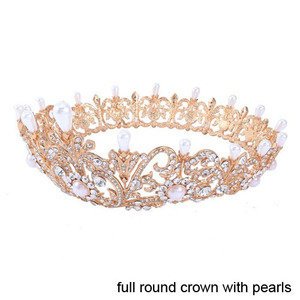 Atacado Pageant Full Round Queen Pearl Crowns