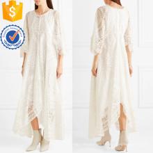 Vestido maxi de manga larga de tres cuartos de algodón con cuello en mezcla de algodón blanco Fabricación al por mayor de prendas de vestir de mujer de moda (TA0265D)
