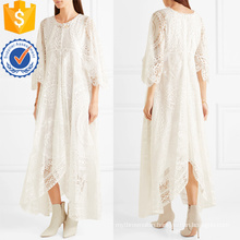 White Cotton-Blend Lace Three Quarter Length Sleeve Summer Maxi Dress Manufacture Wholesale Fashion Women Apparel (TA0265D)