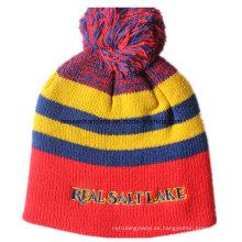 Hecho a medida lana de acrílico Logo promocional bordado personalizado Hecho punto Beanie Snappy
