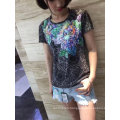 2017 Summer Lovely Colourful Sequin Cotton Flower T-Shirt Clothes