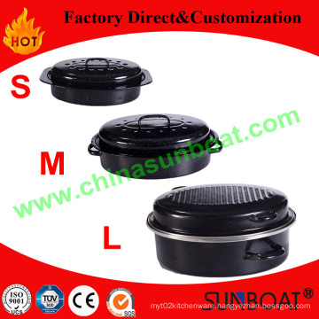 Various Capacity Carbon Steel Enamel Oval Roaster