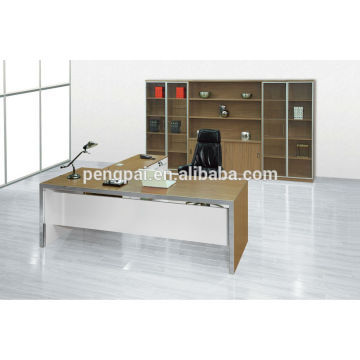 2m white durable strong melamine office table with side table