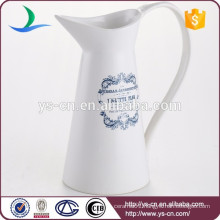 White ceramic decals infusion pitcher with big handle for sale