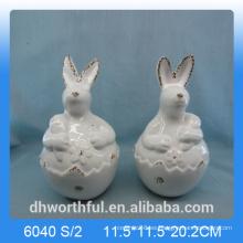 Decoración de Pascua encantadora estatuilla de conejo de cerámica