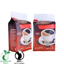Sac de café à fond carré biodégradable de vente chaude avec fermeture à glissière et valve