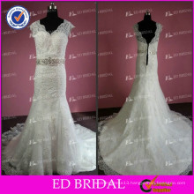 ED Real Sample White Crystal Beaded Waist Cap Sleeve Lace Appliqued Wedding Dress