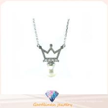 Joyería de la manera de la mujer AAA CZ y collar de plata de la perla 925 (N6630)
