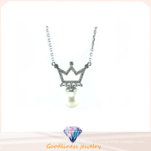 Bijoux Fantaisie Femme AAA CZ & Pearl 925 Collier Argent (N6630)