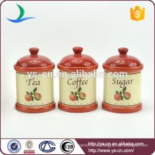 Früchte-Abziehbilder rote Keramik-Kanister-Sets