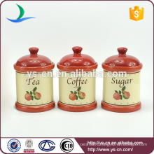 Fruits decal red ceramic canister sets
