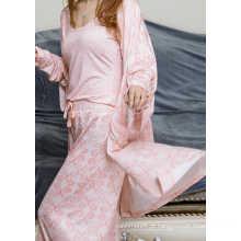 Conjunto de pijama de impressão de lado único flor