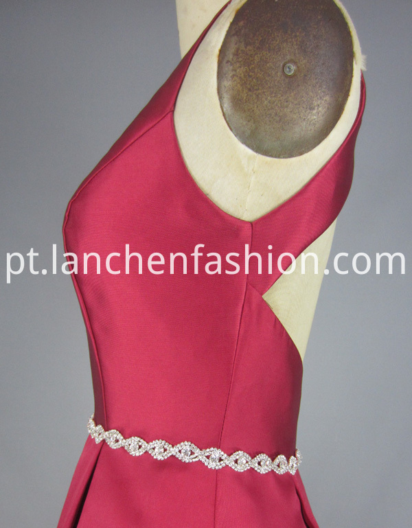 Y Neck Bridesmaid Dress