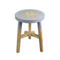 Wood grey round stools