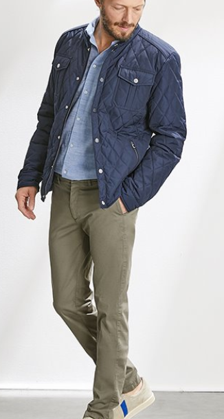water repellent MEN'S QUILTED JACKET - navy