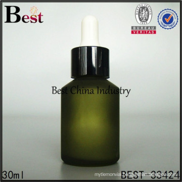 30ml glass cosmetic package , frosted green glass dropper bottle, silk printing service, OEM