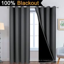 Cortinas 100% blackout cinza escuro