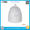 High Quality Small Bee White Storage Jar with Ceramic Lid