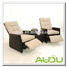 Cadeira reclinável Audu, Cadeira reclinável Rattan de jardim exterior com descanso para os pés