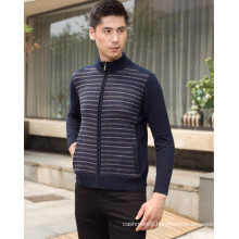 men's thick cashmere pullover with full zip