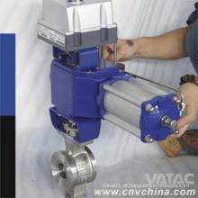 Vatac Aço Inoxidável V Porta Válvula de esfera pneumática