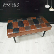 Decorative rectangular collapsible top leather ottoman pouf bench