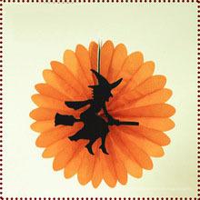 Bruxa decorada rodada ventilador de papel halloween