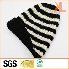 Bonnet en tricot à rayures 100% résistant à la mode en acrylique