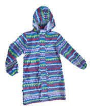 Lady′s Colourful Stripe Hooded Long Sleeve PU Raincoat