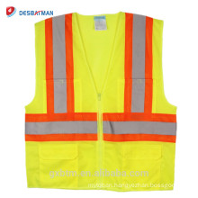 2018 Newly ANSI High Visibility Reflective Yellow Safety Vest Hi Vis Jacket Work Wear Security Waistcoat with Pockets Outdoor