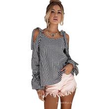 Мода досуг стиль черно-белая клетчатая блузка женщины off-плечи с длинным рукавом T рубашка