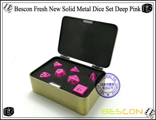 Bescon Fresh New Solid Metal Dice Set Deep Pink-8