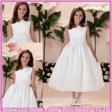 HF2031 Popular white handmade flower ruched organza ball gown tea length cheap sleeveless girls dresses 7-16
