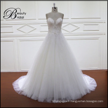 Robe de mariée brillante perlée V A-Line