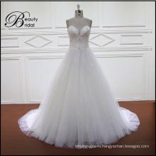 Блестящие Вышитый Бисером V-Образным Вырезом-Линии Свадебное Платье