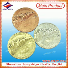 3D Mountain Rose Gold Special Die Casting Zinc Alloy Coin