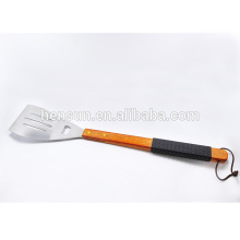 Wooden and Rubber Handle Barbecue Slotted Turner