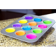 BPA Free Hitzebeständige weiche Antihaft-Backen Muffin Cups Liner Formen Sets, Silikon Backen Muffin Cup