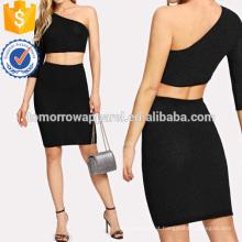Um Ombro Crop Glitter Top & Skirt Fabricação Atacado Moda Feminina Vestuário (TA4106SS)