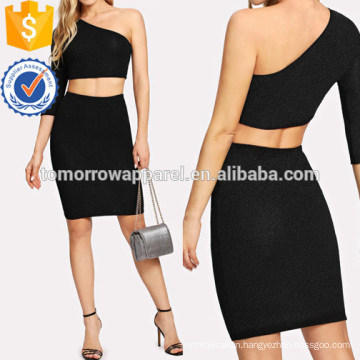 One Shoulder Crop Glitter Top & Skirt Manufacture Wholesale Fashion Women Apparel (TA4106SS)