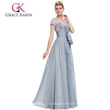Grace Karin Formal Grau Lange Mutter der Braut Spitze Kleider Kurzarm Abendkleid CL4445