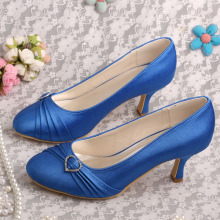 Closed Toe Navy Satin Shoes for Wedding