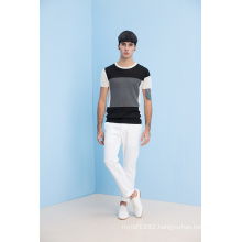 Summer Fit Color Block Round Neck Knit Short Sleeve Men Knitwear