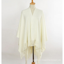 Lady Fashion Acrylic Mohair Knitted Winter Fringe Shawl (YKY4510)