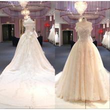 с плеча большой поезд бисером бальное платье свадебное платье свадебное платье Wgf149