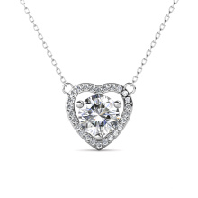 Fine Jewelry 925 Sterling Silver 1.0 Carat Gra Moissanite Diamond Heart Pendant Necklace for Women