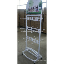 Freestanding 4 Caster Movable Display For Socks, Metal Wire Hooks 2-Way Customized Socks Display Rack