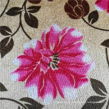 Tecido de capa de sofá africano de veludo de poliéster estampado com flores